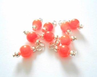 Orange Druk Dangle Beads