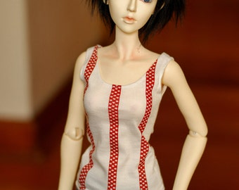 Super Gem Red Star Stripe Singlet For SD BJD