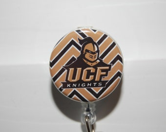 Retractable Badge Holder/ ID NCAA UCF Golden Knight with Alligator or Belt Clip by Hot Headz