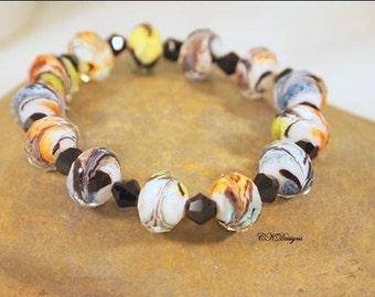 SALE Colorful Beaded Bracelet,  Multi Color Glass Beads,  Stretchy Bracelet. OOAK Handmade Bracelet. CKDesigns.US