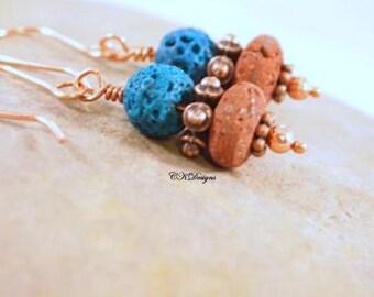 SALE Lava Rock Earrings, Natural Red and Teal Lava Rock Beads, Copper Beads, Beaded Pierced Earrings. OOAK Handmade Earrings. CKDesaigns.US