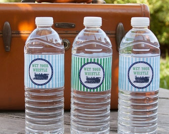 Train Water Bottle Labels - Birthday Decorations Water Bottle Labels - Vintage Train Birthday Decorations - INSTANT DOWNLOAD