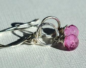 Pink Quartz Earrings, Sterling Earrings, Mystic Quartz Earrings, Silver Hoop Earrings, Gemstone Earrings, Briolette Earrings, Summer jewelry