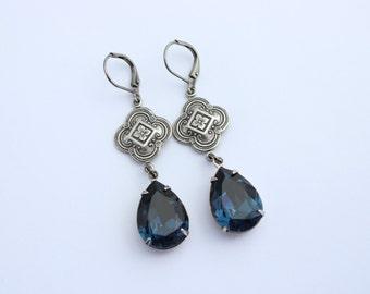 Swarovski Montana Blue earrings, Navy Blue earrings, Swarovski earrings, dark blue earrings, navy blue earrings, Montana earrings MSB01
