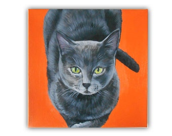 "12x12"" Custom Cat  Portrait / Custom Pet Portrait - 1 Pet Close-Up Solid background Original Acrylic Painting on Canvas Gift Idea Cat"