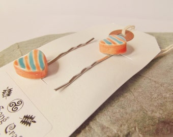 Ceramic Pottery Striped Heart Hair Clips - Hair Grips - Bobby Pins - Set of Two - Orange and Jade Blue