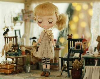Miss yo 2015 Summer & Autumn - Mori Style Inner Dress for Blythe doll - dress / outfit - Beige