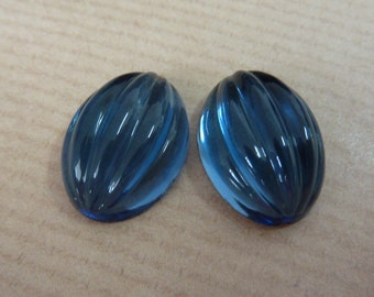 2 glass cabochons, 18x13mm, midnight blue, melon, oval