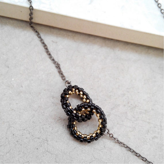 Elpis Link Promise Necklace, Black Link Necklace, Beaded Black Necklace, Black and Gold, Modern, Contemporary