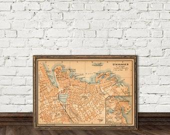 """Stavanger map - Old map of Stavanger - fine giclee print -11 x 16"""""""