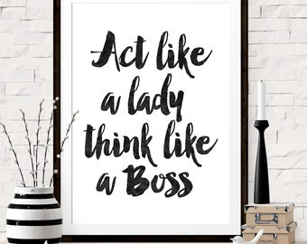 wall art office. home office art print act like a lady think boss quote wall i