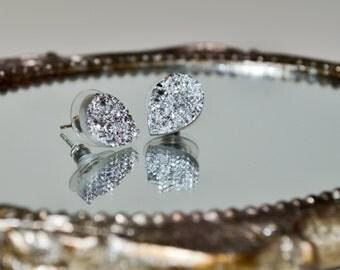 Teardrop Earrings, Faux Druzy Stud Earrings, Silver Druzy Teardrop Post Earrings, Silver Glitter Jewelry, Simple Earrings, Teardrop Earrings