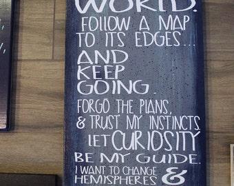 Travel Decor- Travel Quotes-Maptia Manifesto- wood sign