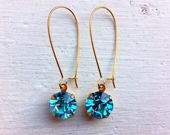 Aqua Blue Earrings/Aqua Rhinestone Earrings/Aquamarine Earrings/Aqua Earrings/Turquoise Earrings/Aqua Bridesmaid Earrings/Blue Topaz