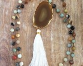 Brown Agate Slice Necklace // Gold, White Tassel, Knotted Silk Cord, Floating Amazonite Natural Stone Beaded, Long Mala, Mineral Rock Geode