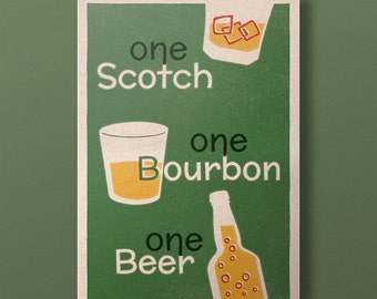 Lindy Lyrics - One Scotch, One Bourbon, One Beer - Retro Style Swing Poster - A3+ Unframed