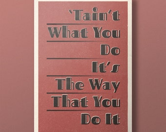 Lindy Lyrics - Tain't What You Do - Retro Style Swing Poster - A3+ Unframed