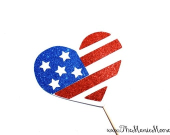 Photo Booth Props ~ GLITTERY American Flag Heart  - GLITTER Photobooth Prop
