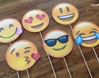 Photo Props: The Emoji Set (6 Pieces) - party wedding birthday decoration Facebook instagram social media iPhone app icon stick centerpiece