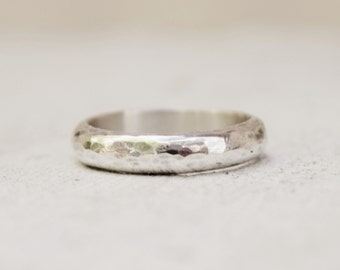 Sterling Silver Hammered Band - Thick Ring - Mens Ring - Wedding Band -  Silver Ring - Half Round Ring - Unisex Ring - GIft For Him