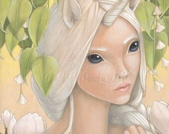 "Fine art print ""Ooni"" Unicorn Girl with Big Eyes in Magical Forest - part of Wild Things Series by Carolina Lebar - 5"" x 7"""