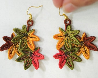 Leaf Charms or Earrings - Machine Embroidered Lace