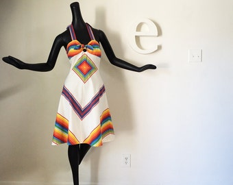 Vintage 70s Rainbow Stripe Halter Dress Groovy 1970s Hippie Boho Festival Colorful Gay Southwestern Indian Color Chevron Stripe Disco Dress
