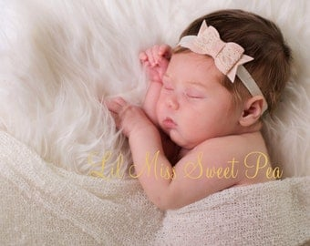 Felt and Lace Bow Headband in wheat and ivory for newborns to adults perfect for photoshoots