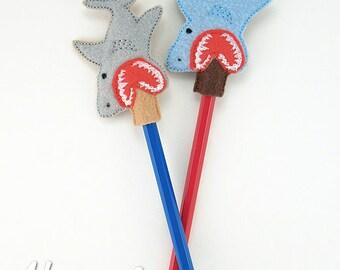 Shark Pencil Topper Embroidery Design, shark week, pencil topper, machine embroidery, ITH, in the hoop, 4x4, ith embroidery, shark felt