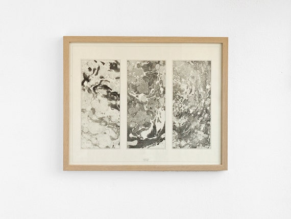 SALE -30% Marbled triptych poster - black and white marbled paper print poster - 40cm x 50cm MSP4050