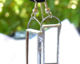 Glass Pane Earrings - Contemporary Studio Jewelry - Vintage Artisan Made
