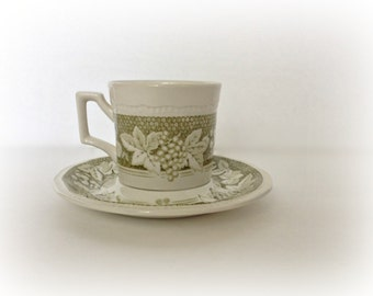 Cup and Saucer Kensington Staffordshire Ironstone Somerset Green Vintage Dinnerware Dishes