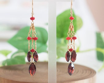 Red Coral & Garnet Earrings, Red Stone Earrings, January Birthstone, March Birthstone Jewelry, Red Stone Jewelry, Luxury Long Earrings