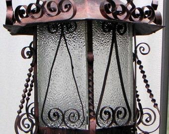 Vintage Copper Tin Pendant Light,Lighting,Home Decor,Glass,Salvaged