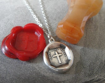 Cross Wax Seal Necklace - antique wax seal charm jewelry Christian Faith Latin motto by RQP Studio