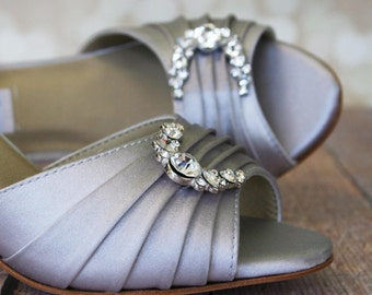 Silver Wedding Shoes / Gray Bridal Heels / Silver Satin / Low Heel Wedding Shoes / Silver Crystal Shoes / Bride on Budget Wedding Shoes