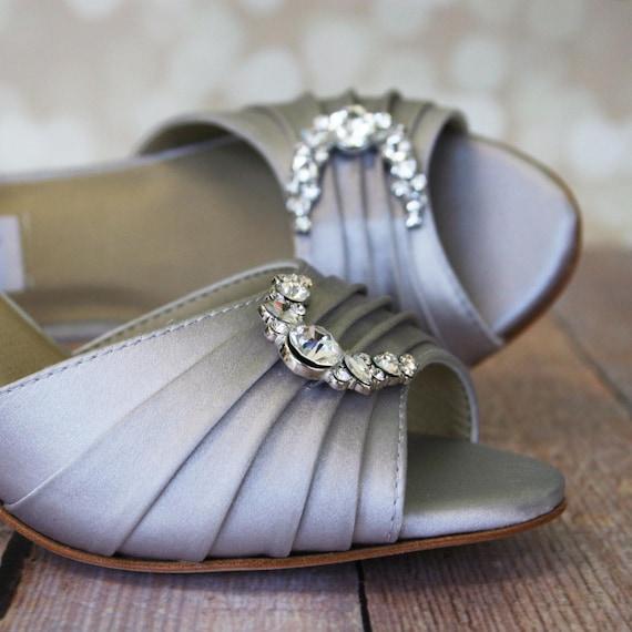 Wedding Silver Heels: Silver Wedding Shoes / Gray Bridal Heels / By