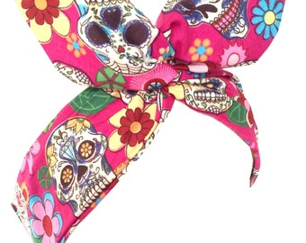 Pink with sugar skull and flower print Pin up - Rockabilly wire headband hair wrap