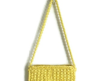 Vintage 1960s Purse Beaded Bright Yellow Woven Raffia Shoudler Bag - Marcus Brothers of Miami - Made in Japan