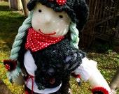 Fabric cloth doll Little Red Riding Hood fabric art doll, girl cloth doll, fabric doll, textile doll, ragdoll, woodland doll