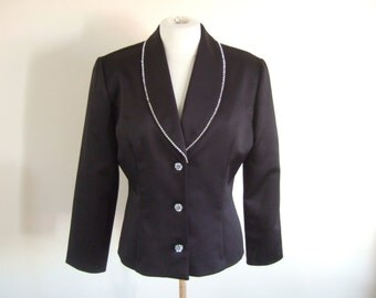UK 12 Vintage 1980s Joseph Ribkoff black evening jacket with rhinestone diamante trim collar and buttons