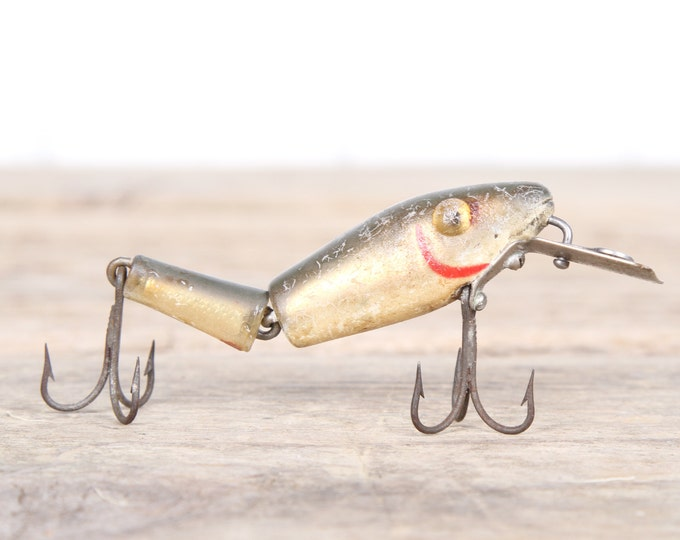 Vintage Fishing Lure / L&S Mirr O Lure Sinker Fishing Lure / Plastic Lure / Old Fishing Lure / Dad Fishing Lure / Mens Gift / Red White