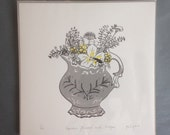 Garden Flowers with Lodger, Limited Edition screen print