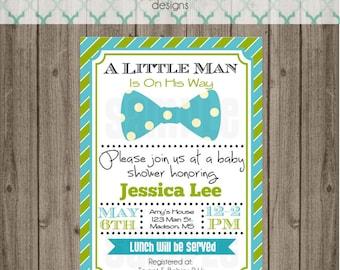 Little Man Baby Shower Invitation - Baby Boy Shower Invitation - Digital File
