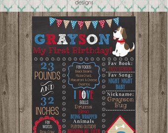 Puppy Dog Birthday Chalkboard Sign - First Birthday Party Chalkboard Sign - Printable 8x10, 11x14, or 16x20 sign- Photo Prop