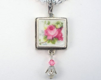 Broken China Jewelry Pink Rose Floral Charm Pendant Necklace Vintage Charm Porcelain Jewelry by Charmedware