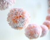 PEACH + PINK + GREY pom pom garland - a sweet mix of confetti pom poms with peach + pink + grey + white yarn