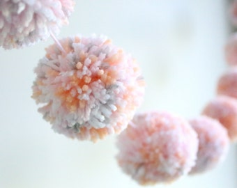 PEACH + PINK + GREY pom pom garland - a sweet mix of confetti pom poms with peach + pink + grey + white yarn