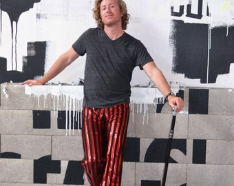 FESTIVAL SALE! Glitter Britches Red Metallic Striped Men's Dance Pant; Rated ARRRRR