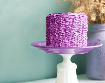 Lilac Cake Stand for Lilac Weddings / Purple Ruffle Cake on a Vintage Cake Plate / Cupcake Stand for Cupcakes / Pale Purple Plum Lavender